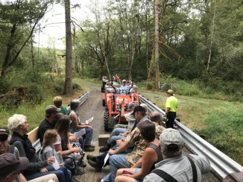 The tour of the Heitzmann Tree Farm was a tractor-drawn hayride.