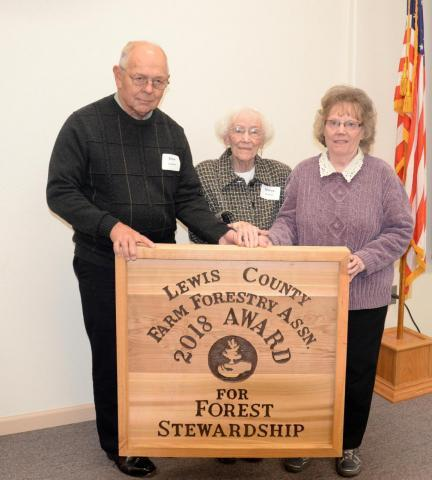 Shirley Heitzman, Elmer & Nancy Laulainen received an award for Forest Stewardship in 2018