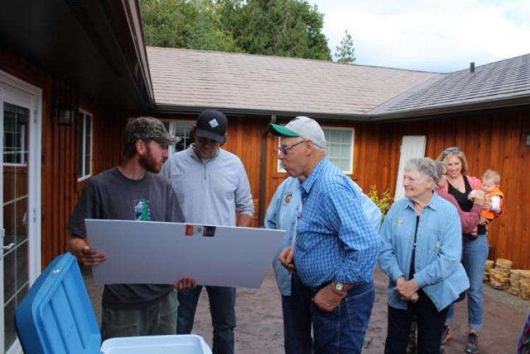 Tim Falkner, Dave Houk, Bob Rose, Molly Houk and son Hobi at Falkner's Tree Farm Tour