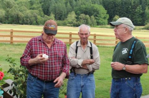 Nick Somero, Dale Rutherford, and Greg Pattillo enjoy refreshments at the August 2017 Tour of Falkner's Tree Farm