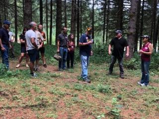 Tree farmers touring tree farm