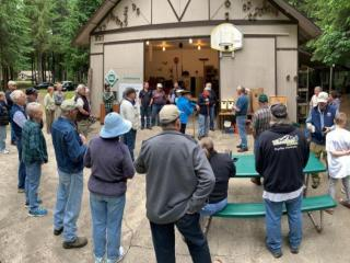Miller Tree Farm annual summer picnic June 2019.  Ken addressing the attendees.