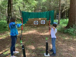Miller Tree Farm annual summer picnic June 2019.  Archery station set up for attendees to have fun.  Thank you Skookum Archers.