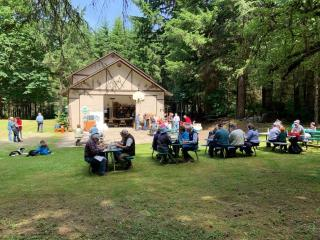Miller Tree Farm annual summer picnic June 2019.  The group enjoying a nice lunch prepared by Howard & Sheena Wilson.
